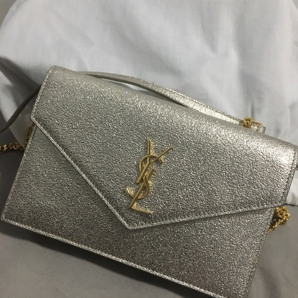 Auth YSL Textured Metallic Gold Envelope Crossbody.  M 5ac5781c5512fd566a2ead29 a4ca1d963a4d2